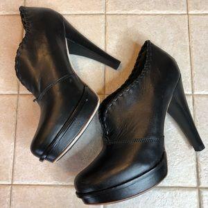 Black leather ugg heels